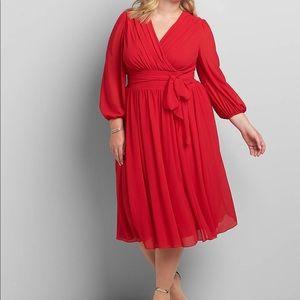 Crossover 3/4-Sleeve Midi Dress